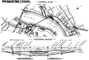 Rotherhithe Tunnel - Sectional map of the Rotherhithe Tunnel, 1906