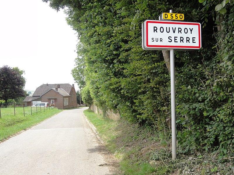 Rouvroy-sur-Serre (Aisne) city limit sign