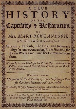Mary Rowlandson - First edition (1682) title page of Rowlandson's narrative