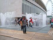 Walk through fountains during reopening celebrations after 2007 refurbishment