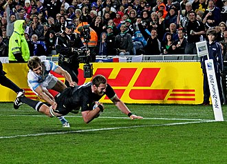 Kieran Read - Read scoring a try at the 2011 Rugby World Cup