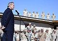 Rumsfeld addresses Combined Task Force Bayonet at Kandahar Air Base.jpg