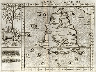 Nainativu - Ptolemy's map of Taprobana of 140 CE in a 1562 Ruscelli publication. The islet is called Nagadiba while the Jaffna peninsula is called Nagadiba Maagramum.