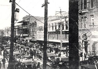 Lake Charles, Louisiana - A view of Downtown Lake Charles, circa 1917