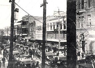 History of Lake Charles, Louisiana - A view of Downtown Lake Charles, circa 1917