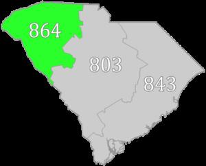 Area code 864 - Image: SC area code 864