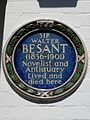 SIR WALTER BESANT (1836-1901) Novelist and Antiquary Lived and died here.jpg