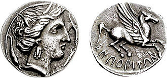 Ancient Iberian coinage - O: Head Arethusa right, Sicilian style, with three dolphins.