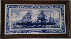 A pair of commemorative Delftblue tiles issued by Nedlloyd showing SS Prinses Amalia