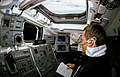 STS-41 MS Melnick experiments with VCS on OV-103's aft flight deck.jpg