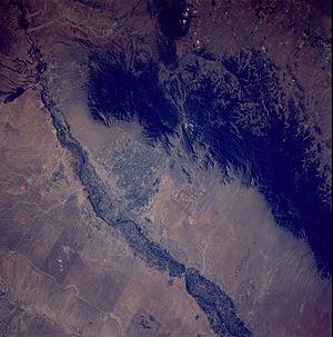 Bosque - NASA image of Albuquerque, New Mexico showing the green bosque area surrounding the Rio Grande