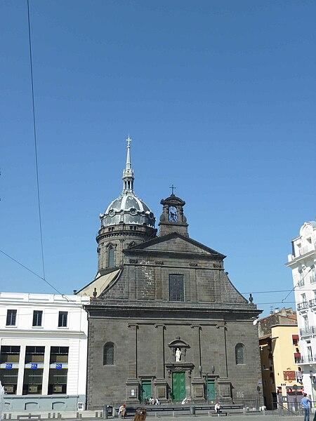Church Saint-Peter, front view. Clermont-Ferrand, place de Jaude. Historical monument.