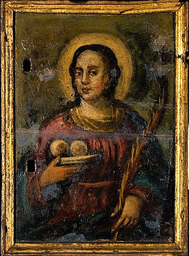 Saint Agatha. Oil painting. Wellcome V0017323.jpg