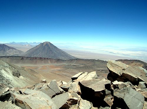 Licancabur seen from Sairecabur Sairecabur Licancabur.jpg