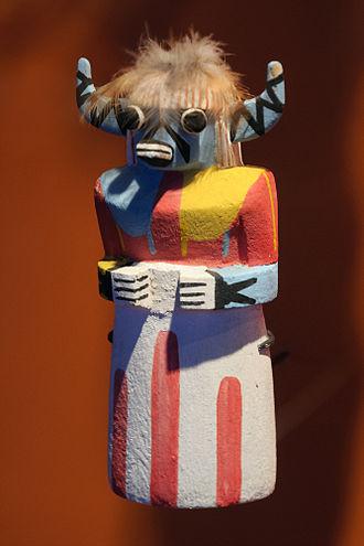 Hopi Kachina figure - SakwaWakaKatsina (Katsina-Blue-Cow), a Hopi Kachina figure presented in an exhibition in Paris.