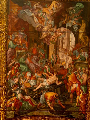 Genoa Cathedral - The Martyrdom of St. Lawrence, in the presbytery vault, by Lazzaro Tavarone