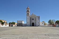 View of the San Nicolás de Bari church in the center of town