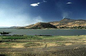 Lake Güija - With San Diego volcano