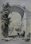 View  de the remains  de the triumphal arch on the western fin  de the bridge (1838)