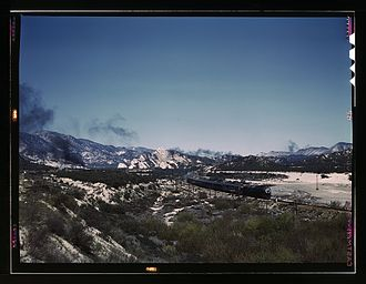Cajon Pass - Santa Fe R.R. train going through Cajon Pass in the San Bernardino Mountains 1943