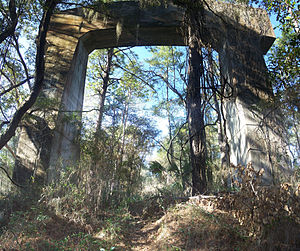 Cross Florida Barge Canal - One of the supports for the never completed bridge, in Santos in the US 441 median.
