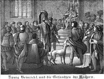 King Henry and the Hungarian envoys, 19th century depiction Saxonia Museum fur saechsische Vaterlandskunde I 03.jpg