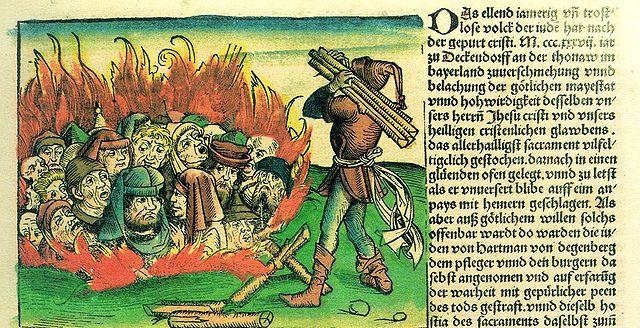 Darstellung eines Pogroms in der Schedelschen Weltchronik von 1493