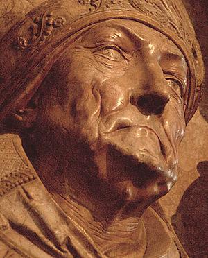 Tilman Riemenschneider - Detail of stone tomb of Rudolf von Scherenberg in Würzburg Cathedral, (1496-1499).