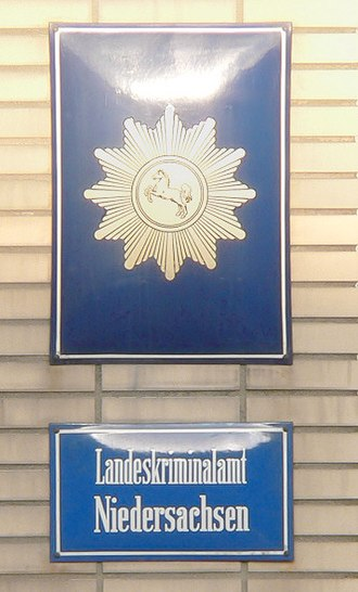 Law enforcement in Germany - Doorplate of the Landeskriminalamt of the state of Lower Saxony
