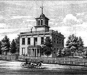 Schuyler County, Missouri - The previous courthouse as it appeared in 1878.