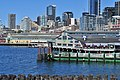 Seattle - Piers 54 & 55 from a ferry at Colman Dock (WSF) 01.jpg