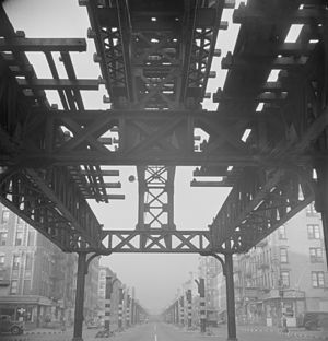 IRT Second Avenue Line - The Second Avenue El, looking south on First Avenue from 13th Street during its demolition in September 1942