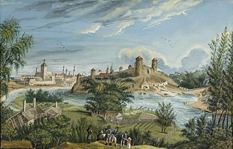 "Karl August Senff - An example of Senff's landscape painting, ""A View on Narva"" (1812). Gouache on paper."