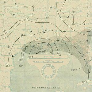1897 Atlantic hurricane season - Image: September 12, 1897 hurricane 2 map
