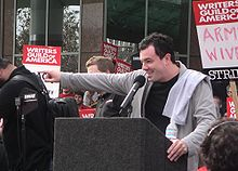 MacFarlane at WGA rally