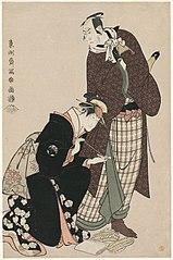 Matsumoto Kōshirō IV as Ninokuchimura Magoemon, and Nakayama Tomisaburō as Umegawa