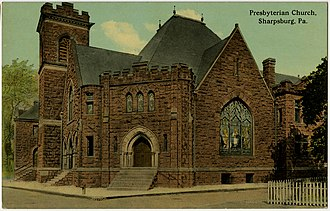 Sharpsburg, Pennsylvania - The Sharpsburg Presbyterian Church located at 13th and North Canal Streets, now the location of the Northern Area Multi-Service Center.