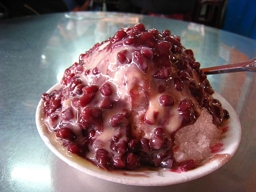 Shaved ice with condensed milk and red beans
