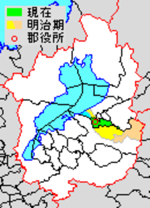 Echi District, Shiga - Map of Echi District with Meiji period (1890) area in yellow, modern area in green.