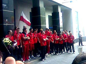 Poland men's national volleyball team - European Champions 2009 after returning to Poland.