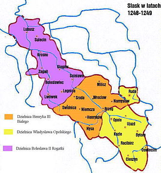 Henry III the White - Silesian partition of 1248/49, Henry's Duchy of Wrocław in orange