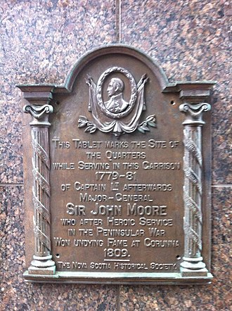 John Moore (British Army officer) - Sir John Moore Plaque Halifax, Nova Scotia