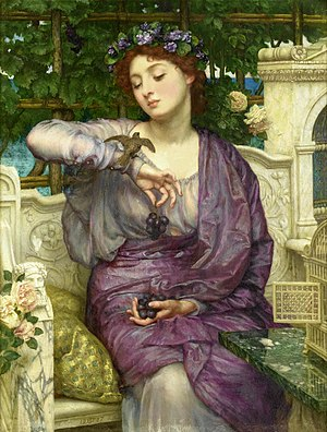 Lesbia - Lesbia and Her Sparrow (Catullus 2), by Sir Edward John Poynter