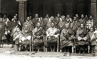 Dzongpen - Image: Sir Ugyen Wangchuck and his councillors at Punakha, Bhutan, 1905