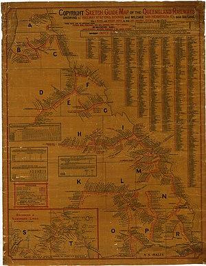 Construction of Queensland railways - Map of Queensland Railways, 1904