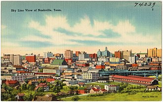 Nashville, Tennessee - Depiction of Nashville skyline c. 1940s