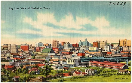 Depiction of Nashville skyline c. 1940s Sky line view of Nashville, Tenn (74039).jpg