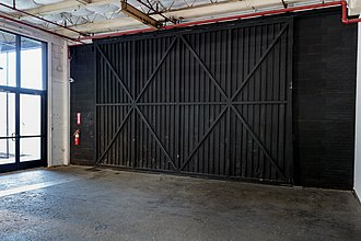 Dallas Contemporary - Industrial sliding doors installed in the 1950s. Photo by Kevin Todora.