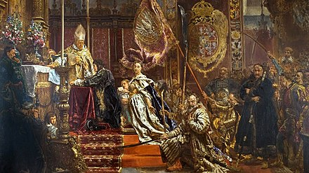 A painting by Jan Matejko of King John II Casimir pledging his famous oath in Lwow's Latin Cathedral Sluby Jana Kazimierza 2.jpg