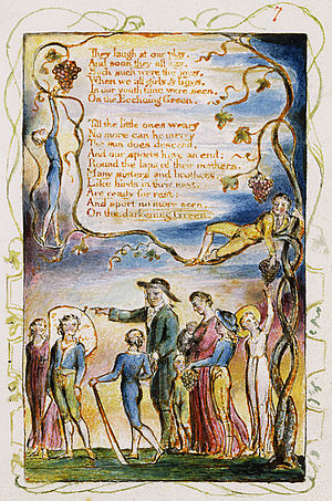 The Echoing Green - Image: Songs of Innocence and of Experience, copy Y, 1825 (Metropolitan Museum of Art) object 7 (The Echoing Green)